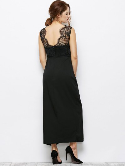 Lace Panel Sleeveless Prom Maxi Dress от Zaful.com INT