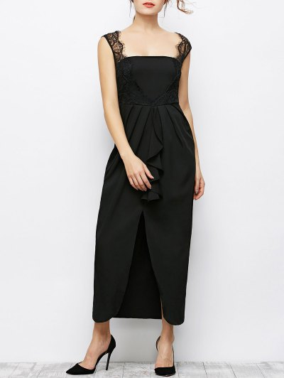 Lace Panel Sleeveless Prom Maxi Dress - BLACK M Mobile