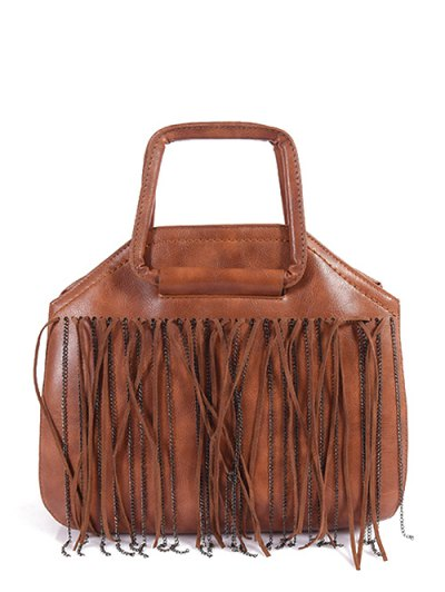 Faux Leather Fringed Handbag - BROWN  Mobile