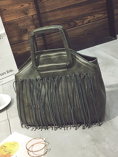 Faux Leather Fringed Handbag - GREEN  Mobile