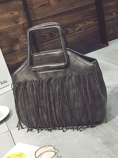 Faux Leather Fringed Handbag - GRAY  Mobile