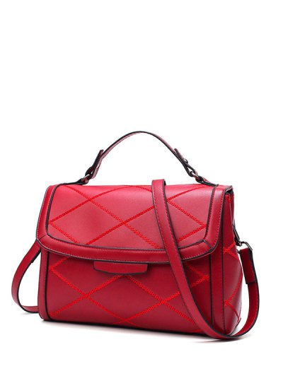 Rhombic Faux Leather Handbag - WINE RED  Mobile