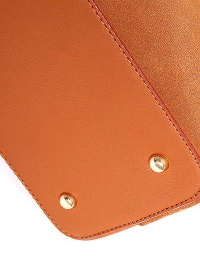 Braided Tassel Suede Panel Shoulder Bag - BROWN  Mobile