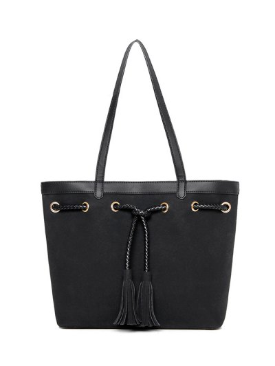 Braided Tassel Suede Panel Shoulder Bag - BLACK  Mobile