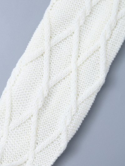 Notched Skinny Knitting Stockings - WHITE ONE SIZE Mobile