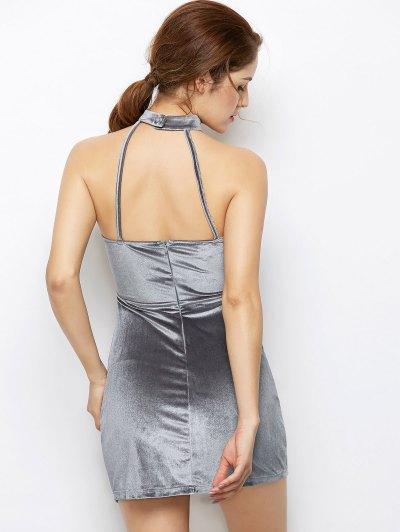 Velvet Cut Out Choker Bodycon Dress - LIGHT GRAY 2XL Mobile