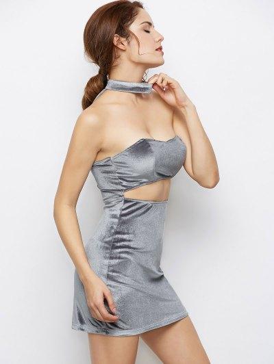 Velvet Cut Out Choker Bodycon Dress - LIGHT GRAY XL Mobile