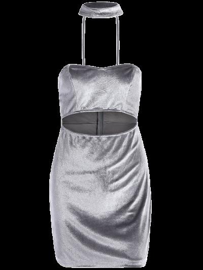 Velvet Cut Out Choker Bodycon Dress - LIGHT GRAY L Mobile