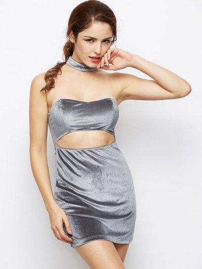 Velvet Cut Out Choker Bodycon Dress - LIGHT GRAY S Mobile