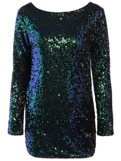 Sparkly Round Neck Bodycon Dress - GREEN XL Mobile