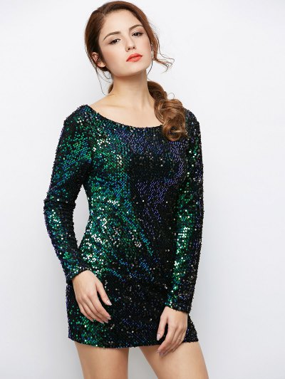Sparkly Round Neck Bodycon Dress - GREEN L Mobile