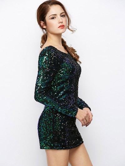 Sparkly Round Neck Bodycon Dress - GREEN S Mobile