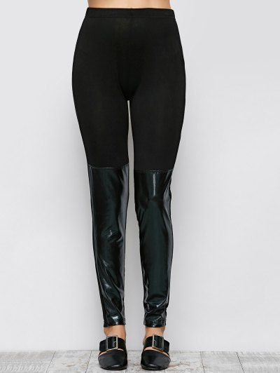 Tight Fit PU Leather Panel Leggings - BLACK L Mobile