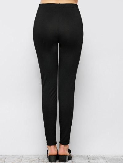 Tight Fit PU Leather Panel Leggings - BLACK L Mobile