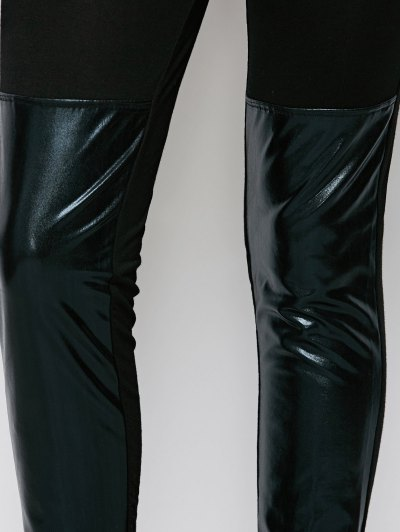Tight Fit PU Leather Panel Leggings - BLACK S Mobile