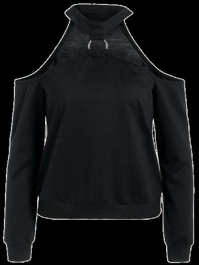 Metal Ring Cold Shoulder Top - BLACK M Mobile