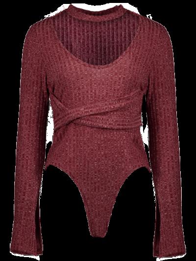 Skinny Choker Long Sleeve Bodysuit - CLARET 2XL Mobile