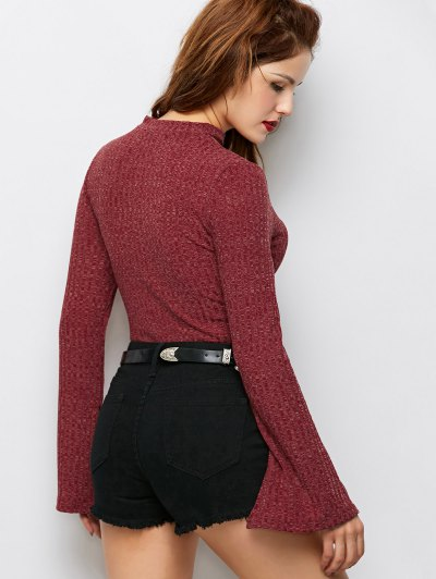 Skinny Choker Long Sleeve Bodysuit - CLARET M Mobile
