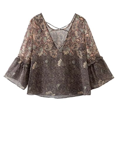 Printed Strappy Back Blouse - COLORMIX S Mobile