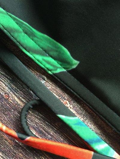 Crisscross High Neck Floral Bikini - BLACK L Mobile