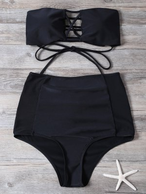 High Waisted Cut Out Swimsuit - Black