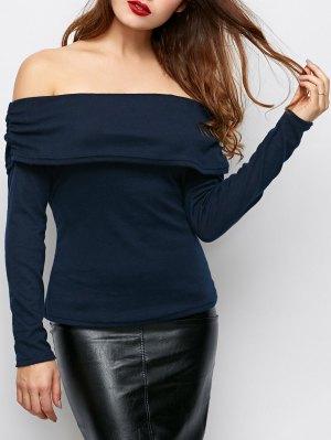 Foldover Off Shoulder Top - Purplish Blue