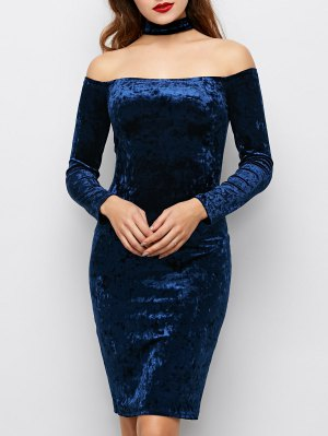Long Sleeve Velvet Choker Party Dress - Blue
