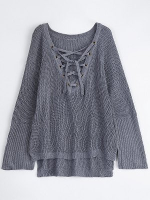 High Low Lace-Up V Neck Sweater - Gray