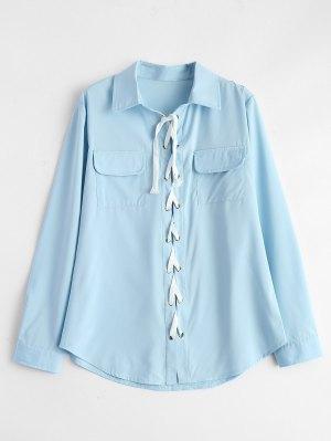 Lace-Up Shirt - Light Blue