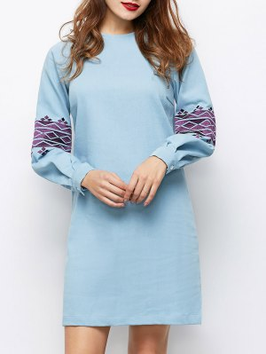 Embroidered Puff Sleeve Dress - Light Blue