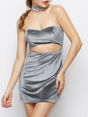 Velvet Cut Out Choker Bodycon Dress - Light Gray