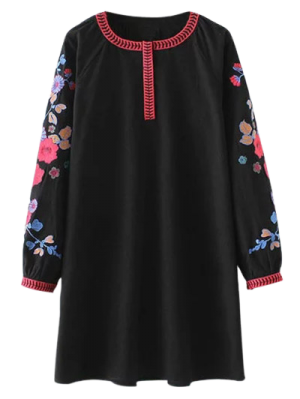 A Line Embroidered Tunic Dress - Black