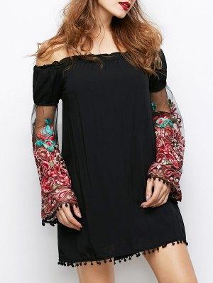 Off Shoulder Paisley Dress - Black