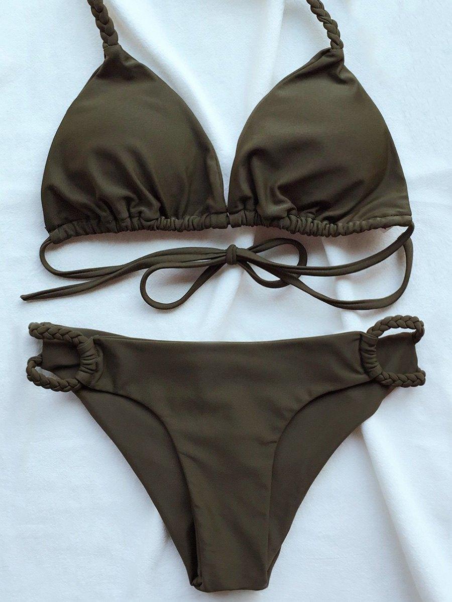 Braided Halter Plunge Bikini