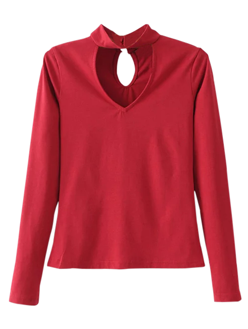 Long Sleeve Choker Layering TeeClothes<br><br><br>Size: S<br>Color: RED