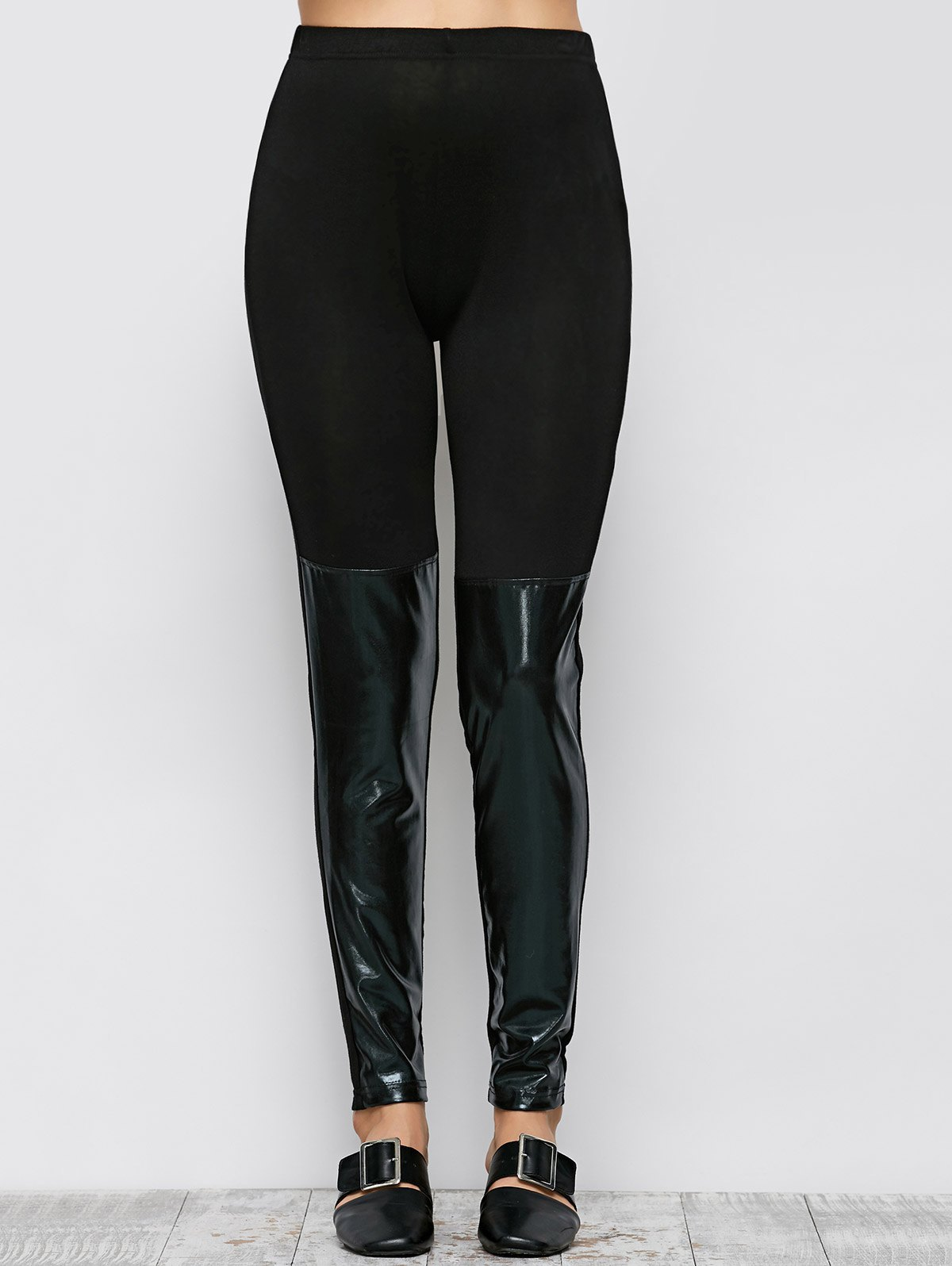 PU Leather Panel Leggings