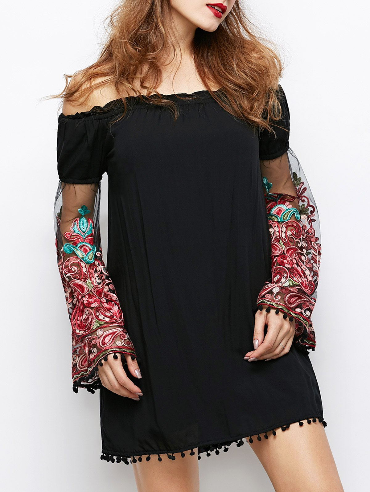 Off Shoulder Long Sleeve Paisley Dress