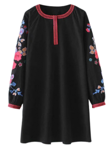 A Line Embroidered Tunic Dress