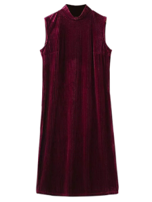 Side Slit High Collar Pleated Velvet Dress - Burgundy L