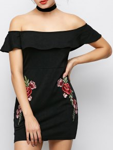 Flounced Floral Bodycon Dress - Black