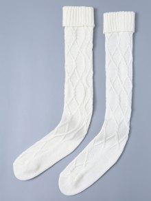 Notched Skinny Knitting Stockings - White
