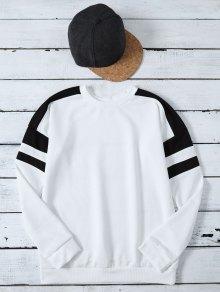 Casual Color Block Sweatshirt - White L