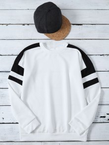 Casual Color Block Sweatshirt - White M