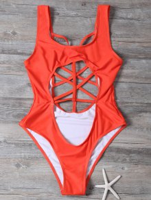 Cropped Cut Out One-Piece Swimwear - Red