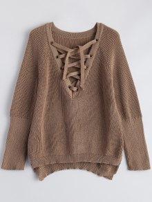 High Low Lace-Up V Neck Sweater - Dark Khaki L