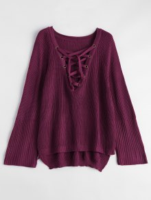 High Low Lace-Up V Neck Sweater - Burgundy M