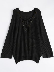 High Low Lace-Up V Neck Sweater - Black M
