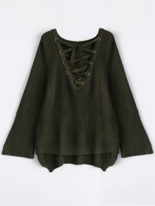 High Low Lace-Up V Neck Sweater - Army Green