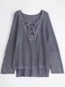 High Low Lace-Up V Neck Sweater - Gray L