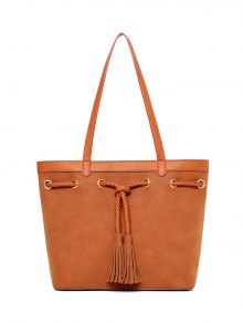 Braided Tassel Suede Panel Shoulder Bag - Brown